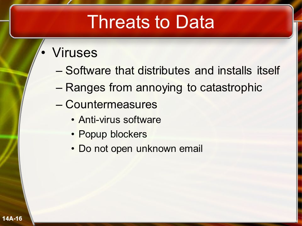 14A-16 Threats to Data Viruses –Software that distributes and installs itself –Ranges from annoying to catastrophic –Countermeasures Anti-virus software Popup blockers Do not open unknown email