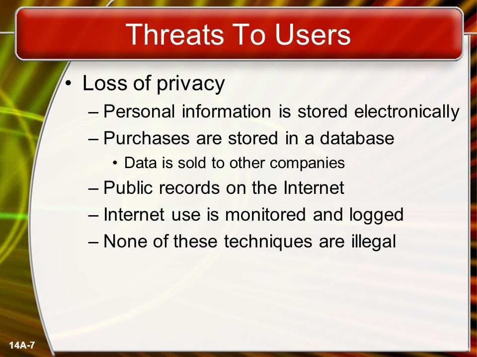 14A-7 Threats To Users Loss of privacy –Personal information is stored electronically –Purchases are stored in a database Data is sold to other compan
