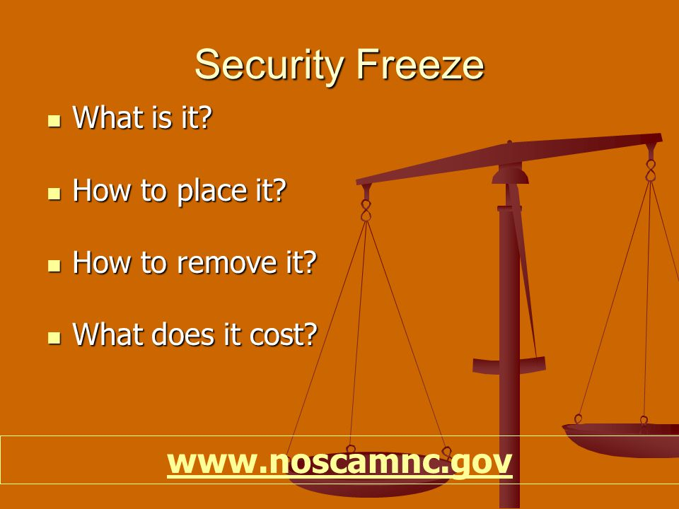 Security Freeze What is it. What is it. How to place it.