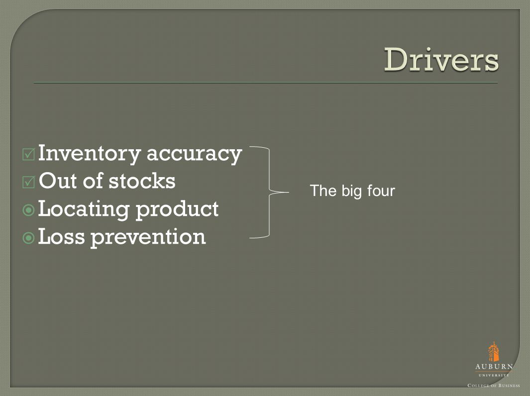  Inventory accuracy  Out of stocks  Locating product  Loss prevention The big four