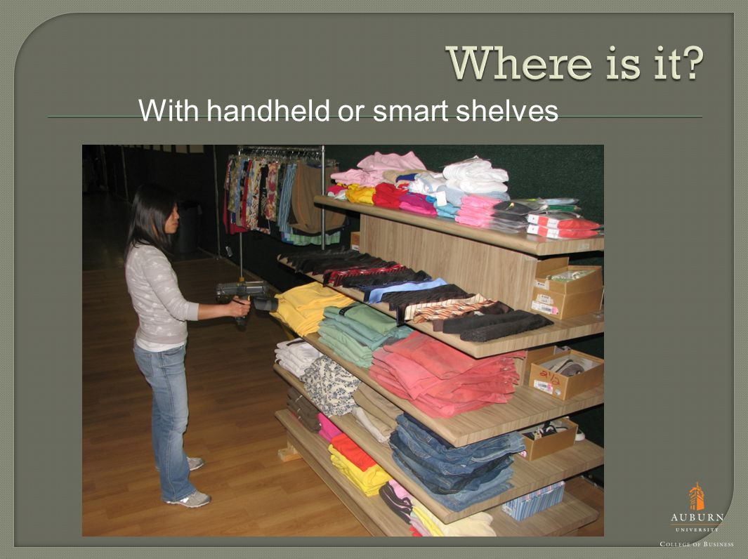 With handheld or smart shelves