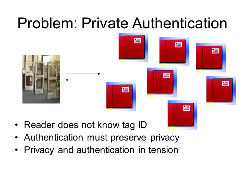 Problem: Private Authentication Reader does not know tag ID Authentication must preserve privacy Privacy and authentication in tension