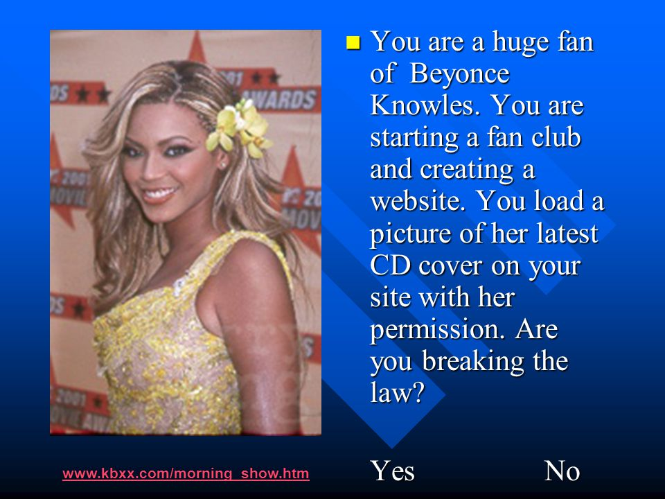 You are a huge fan of Beyonce Knowles. You are starting a fan club and creating a website. You load a picture of her latest CD cover on your site with
