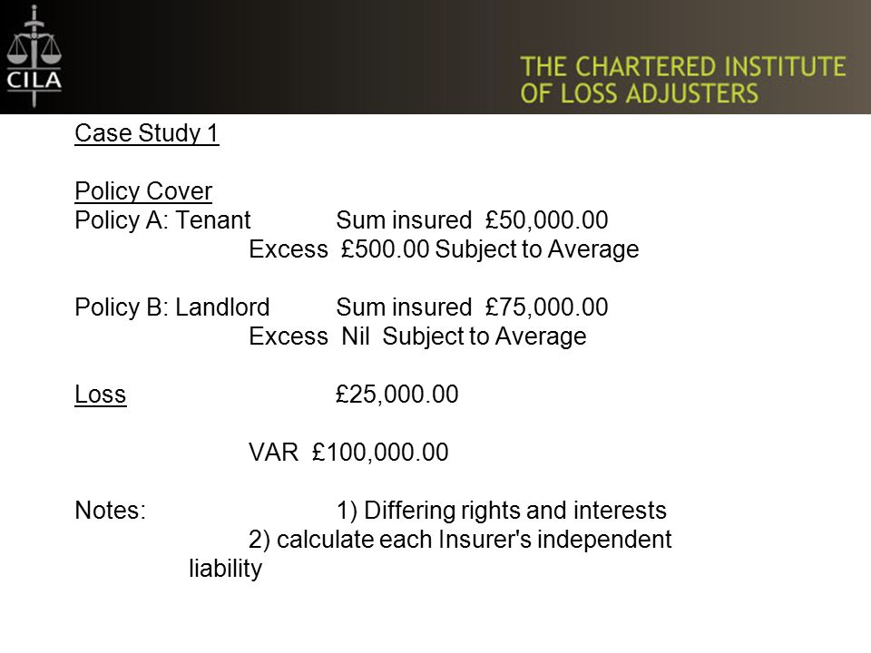 Two Methods of Calculation Maximum liability method – sum insured Independent liability method – actual independent liability basis Policy Type Average applies Concurrent Non Concurrent Application Where average applies – independent liability method No average – maximum liability method Clauses Pro rata average Rateable proportion Excess Escape / Non contribution