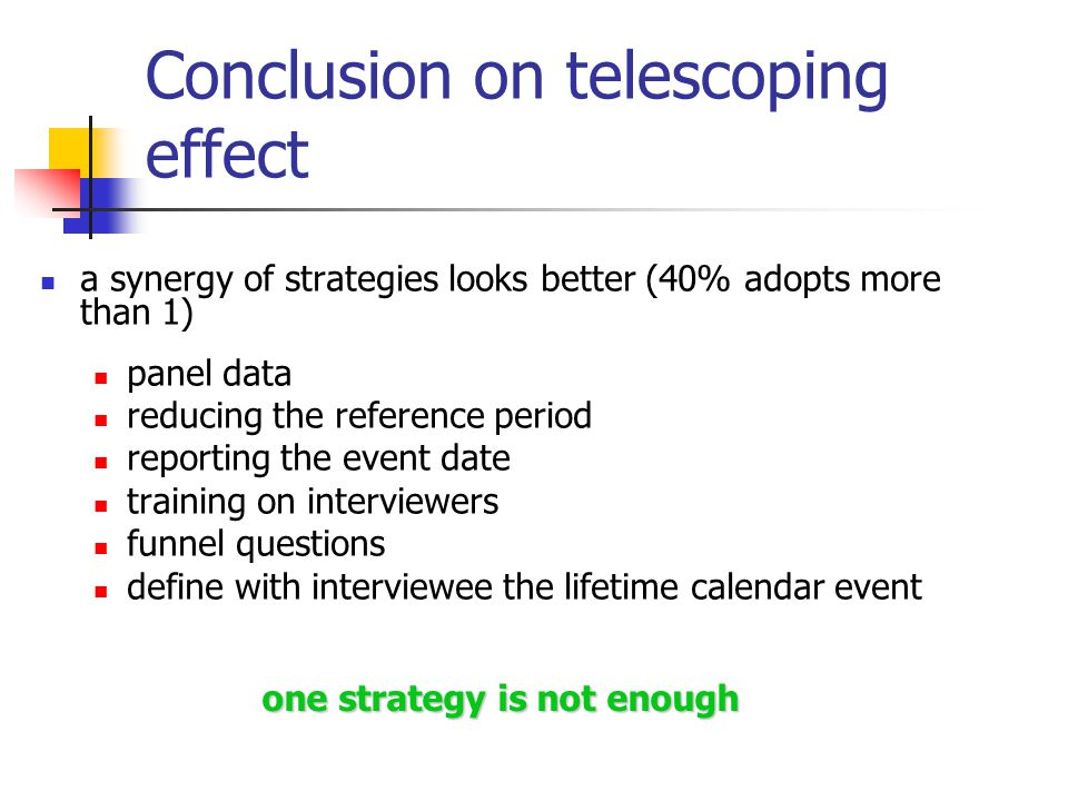 Conclusion on telescoping effect a synergy of strategies looks better (40% adopts more than 1) panel data reducing the reference period reporting the event date training on interviewers funnel questions define with interviewee the lifetime calendar event one strategy is not enough