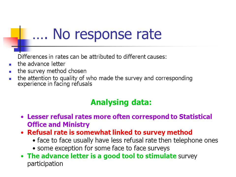 …. No response rate Differences in rates can be attributed to different causes: the advance letter the survey method chosen the attention to quality o