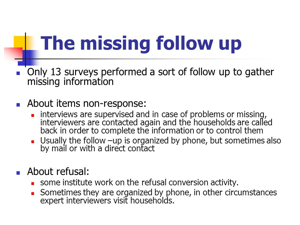 The missing follow up Only 13 surveys performed a sort of follow up to gather missing information About items non-response: interviews are supervised