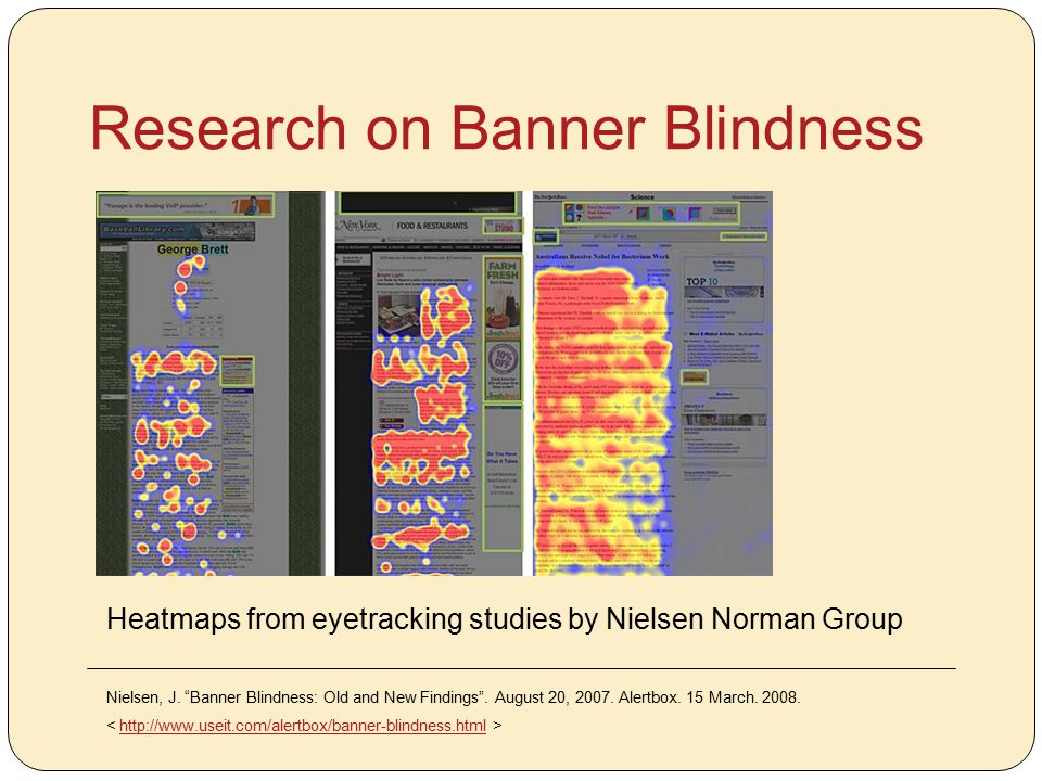 """Research on Banner Blindness Heatmaps from eyetracking studies by Nielsen Norman Group Nielsen, J. """"Banner Blindness: Old and New Findings"""". August 20"""