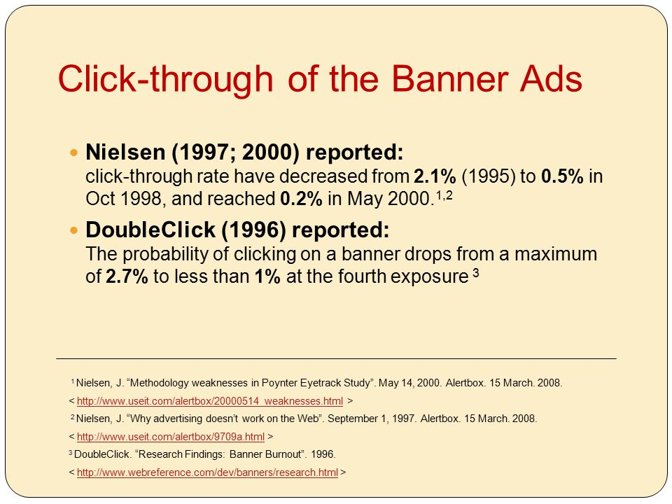Click-through of the Banner Ads Nielsen (1997; 2000) reported: click-through rate have decreased from 2.1% (1995) to 0.5% in Oct 1998, and reached 0.2