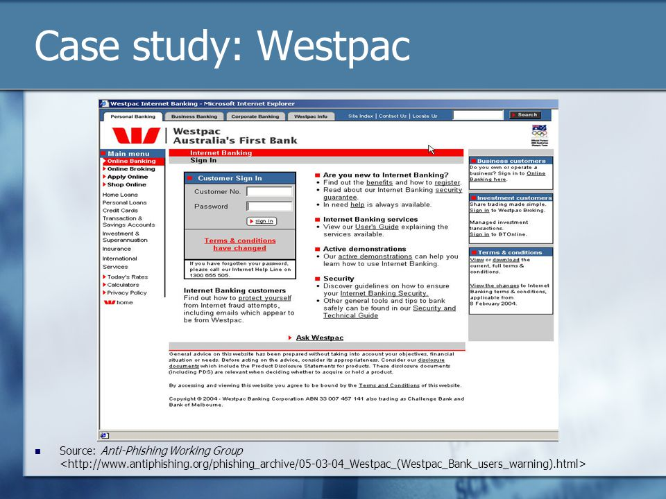 Case study: Westpac Source: Anti-Phishing Working Group