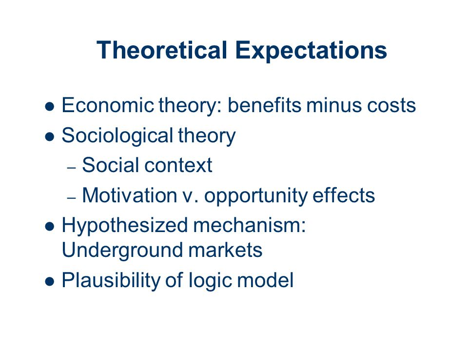 Theoretical Expectations Economic theory: benefits minus costs Sociological theory – Social context – Motivation v.