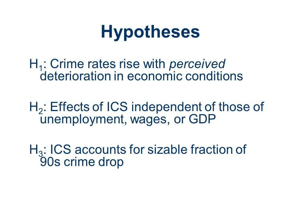 Hypotheses H 1 : Crime rates rise with perceived deterioration in economic conditions H 2 : Effects of ICS independent of those of unemployment, wages, or GDP H 3 : ICS accounts for sizable fraction of 90s crime drop
