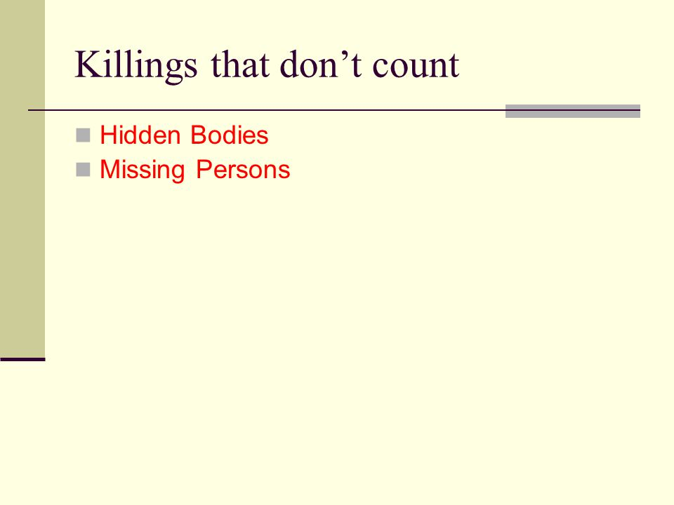 Killings that don't count Hidden Bodies Missing Persons
