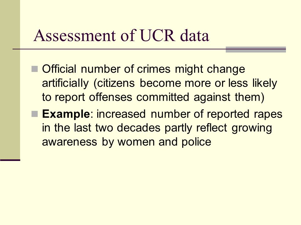 Official number of crimes might change artificially (citizens become more or less likely to report offenses committed against them) Example: increased