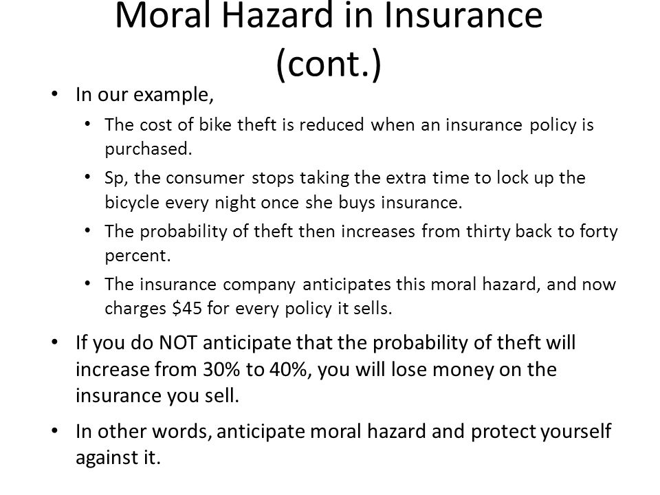 Moral hazard in 2008 (cont.) Bailing out homeowners also causes moral hazard.