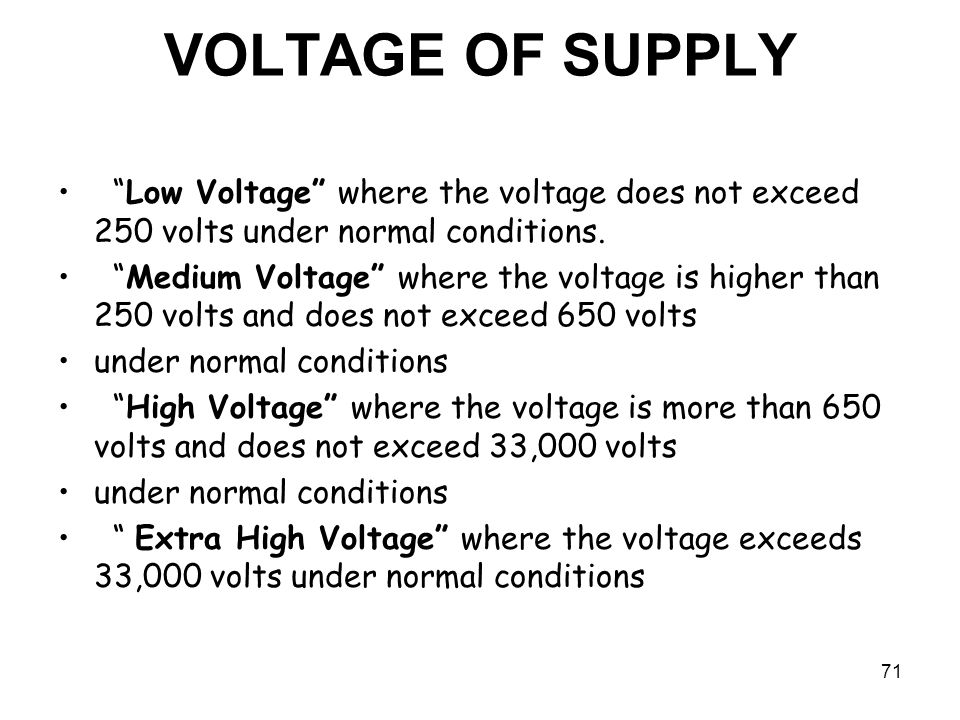 71 VOLTAGE OF SUPPLY Low Voltage where the voltage does not exceed 250 volts under normal conditions.