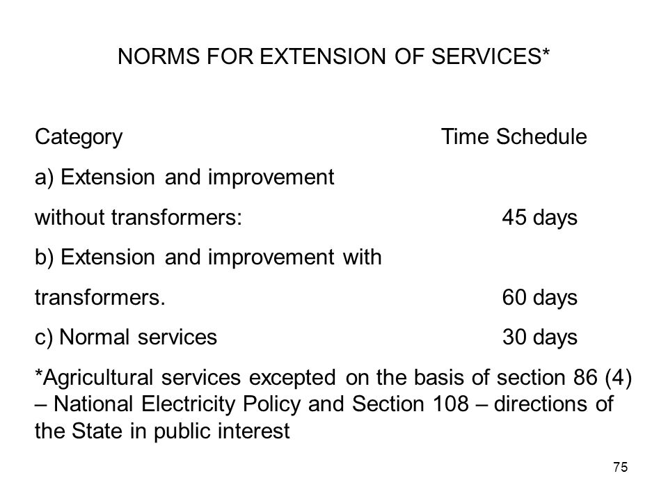 75 NORMS FOR EXTENSION OF SERVICES* Category Time Schedule a) Extension and improvement without transformers:45 days b) Extension and improvement with transformers.