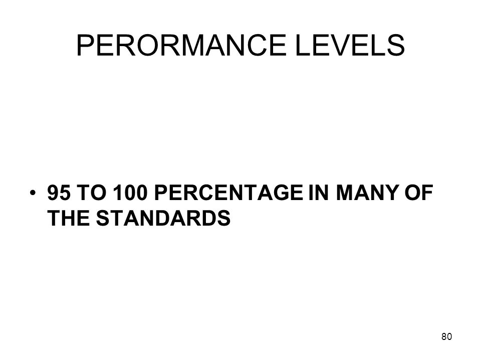 80 PERORMANCE LEVELS 95 TO 100 PERCENTAGE IN MANY OF THE STANDARDS