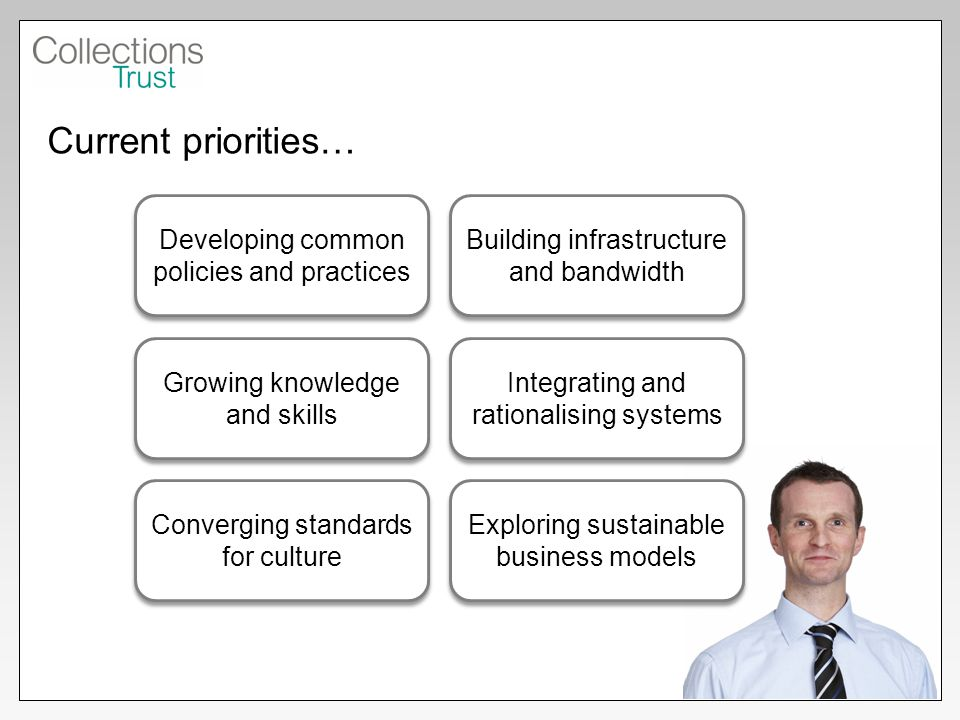 Current priorities… Developing common policies and practices Building infrastructure and bandwidth Growing knowledge and skills Integrating and rationalising systems Converging standards for culture Exploring sustainable business models