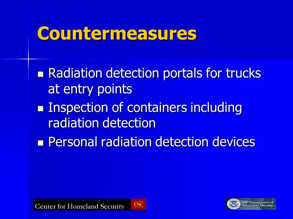 Countermeasures Radiation detection portals for trucks at entry points Radiation detection portals for trucks at entry points Inspection of containers including radiation detection Inspection of containers including radiation detection Personal radiation detection devices Personal radiation detection devices