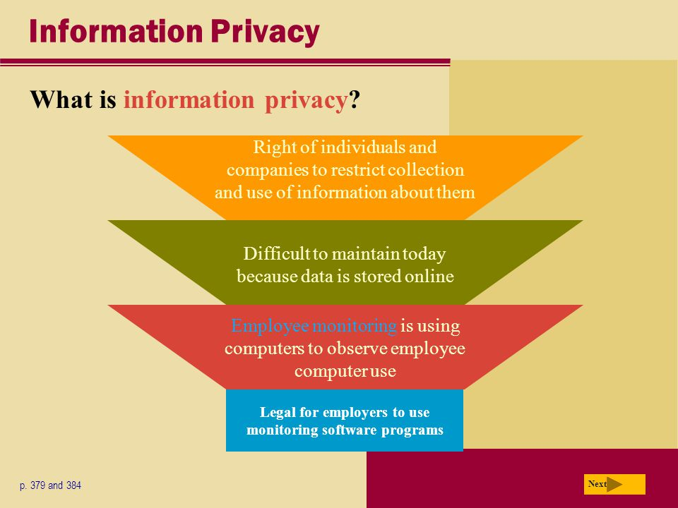 Information Privacy What is information privacy. p.