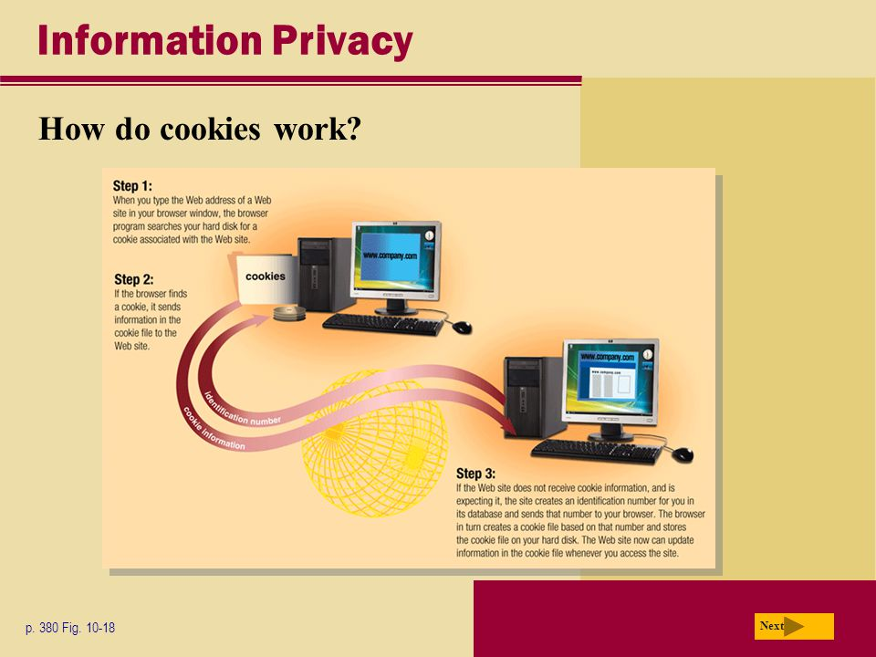 Information Privacy How do cookies work? p. 380 Fig. 10-18 Next