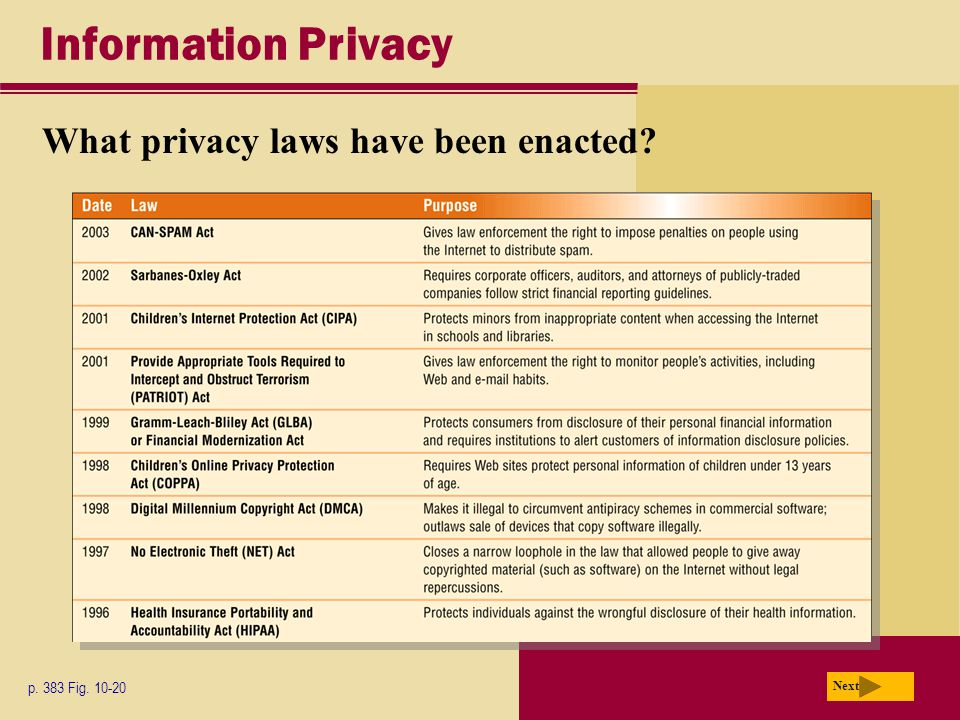 Information Privacy What privacy laws have been enacted? p. 383 Fig. 10-20 Next