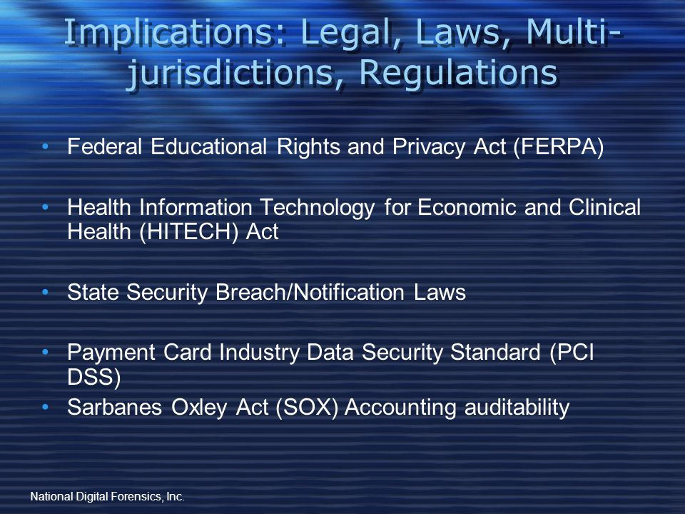 Implications: Legal, Laws, Multi- jurisdictions, Regulations HIPPA: The Health Insurance Portability and Accountability Act NC Gen.