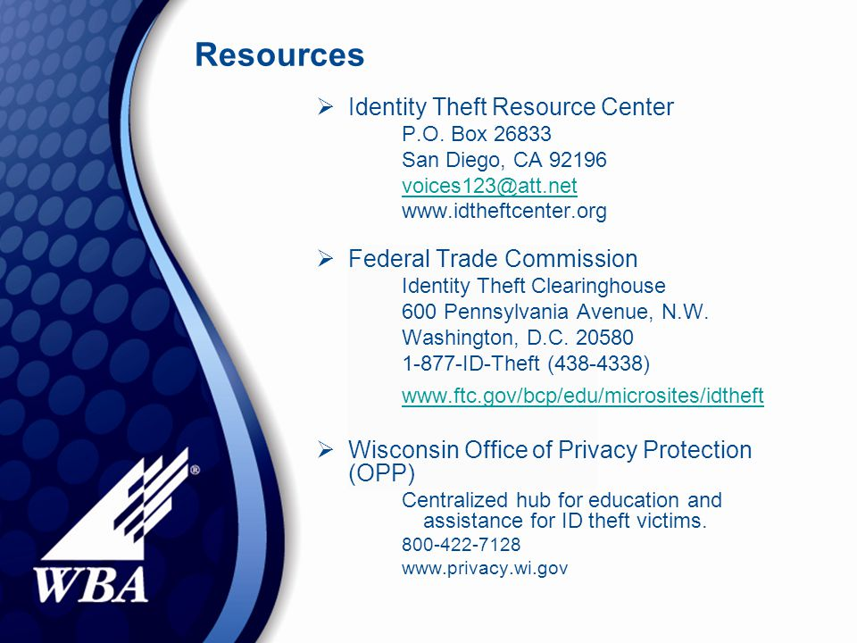Resources  Identity Theft Resource Center P.O.
