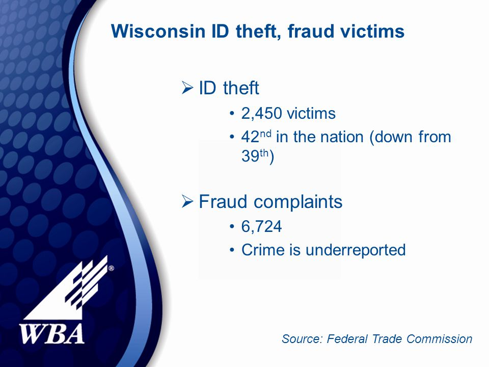 Wisconsin ID theft, fraud victims  ID theft 2,450 victims 42 nd in the nation (down from 39 th )  Fraud complaints 6,724 Crime is underreported Source: Federal Trade Commission