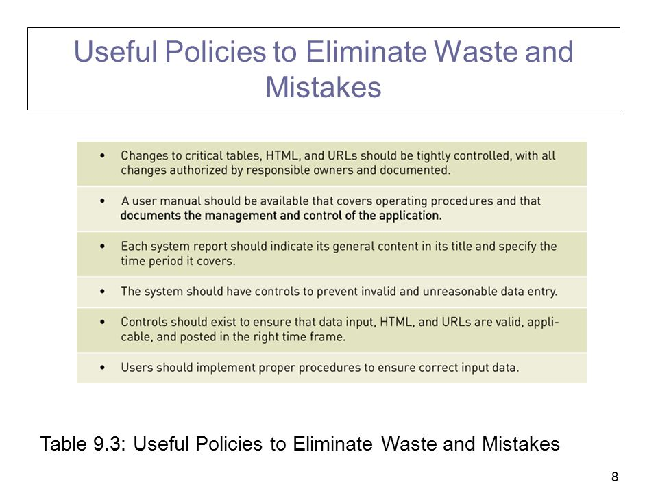 8 Useful Policies to Eliminate Waste and Mistakes Table 9.3: Useful Policies to Eliminate Waste and Mistakes