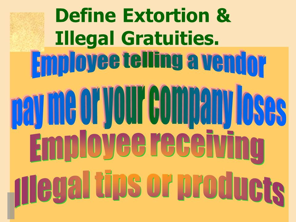 Define Extortion & Illegal Gratuities.