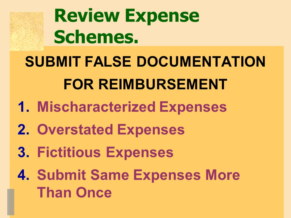 Review Expense Schemes.