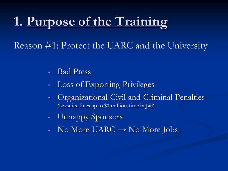 1. Purpose of the Training Bad Press Bad Press Loss of Exporting Privileges Loss of Exporting Privileges Organizational Civil and Criminal Penalties (