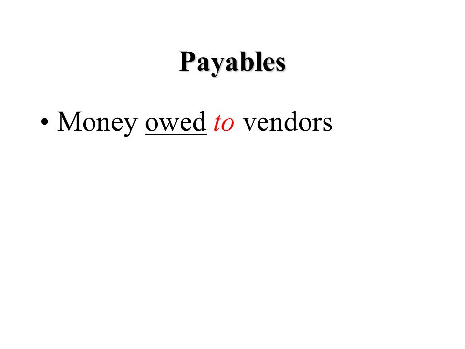 Payables Money owed to vendors