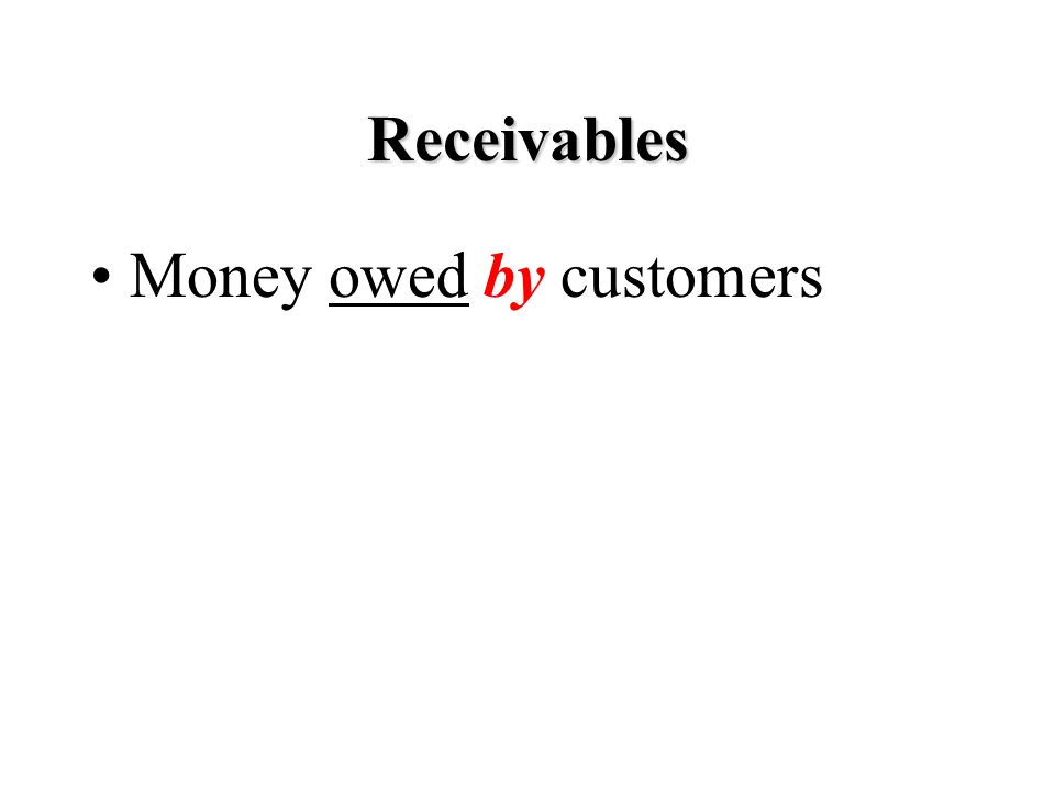 Receivables Money owed by customers