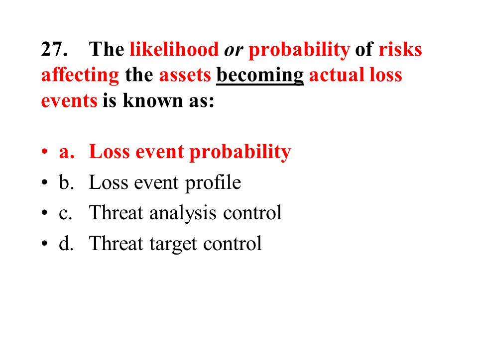27.The likelihood or probability of risks affecting the assets becoming actual loss events is known as: a.Loss event probability b.Loss event profile c.Threat analysis control d.Threat target control