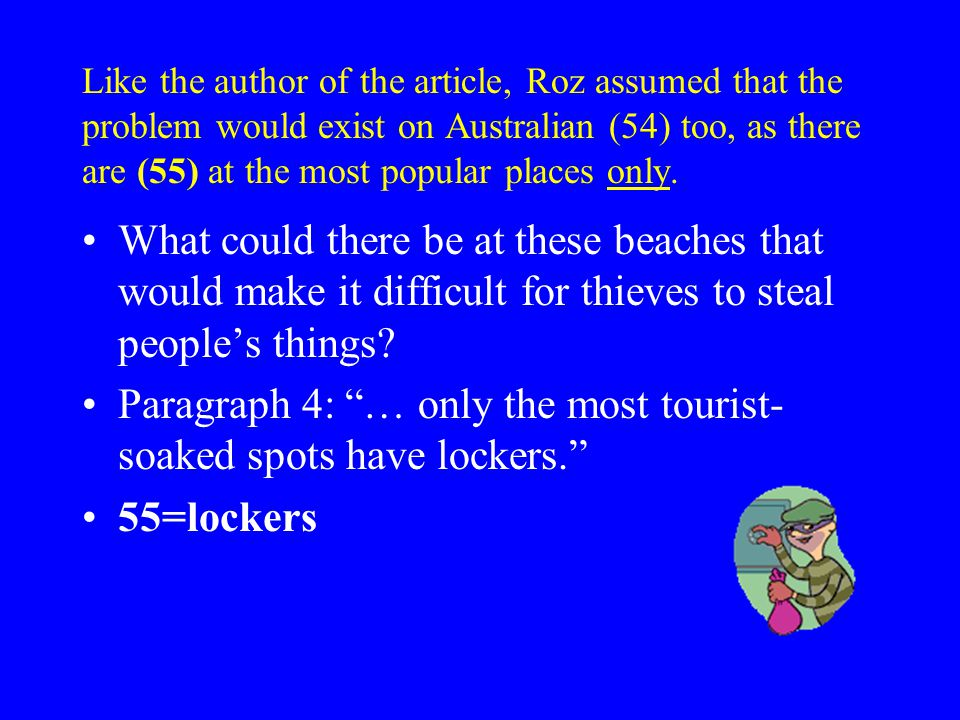 Like the author of the article, Roz assumed that the problem would exist on Australian (54) too, as there are (55) at the most popular places only.
