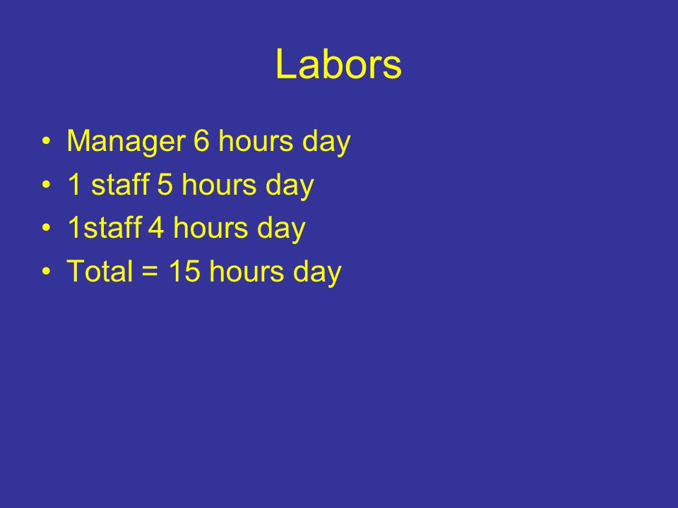 Labors Manager 6 hours day 1 staff 5 hours day 1staff 4 hours day Total = 15 hours day