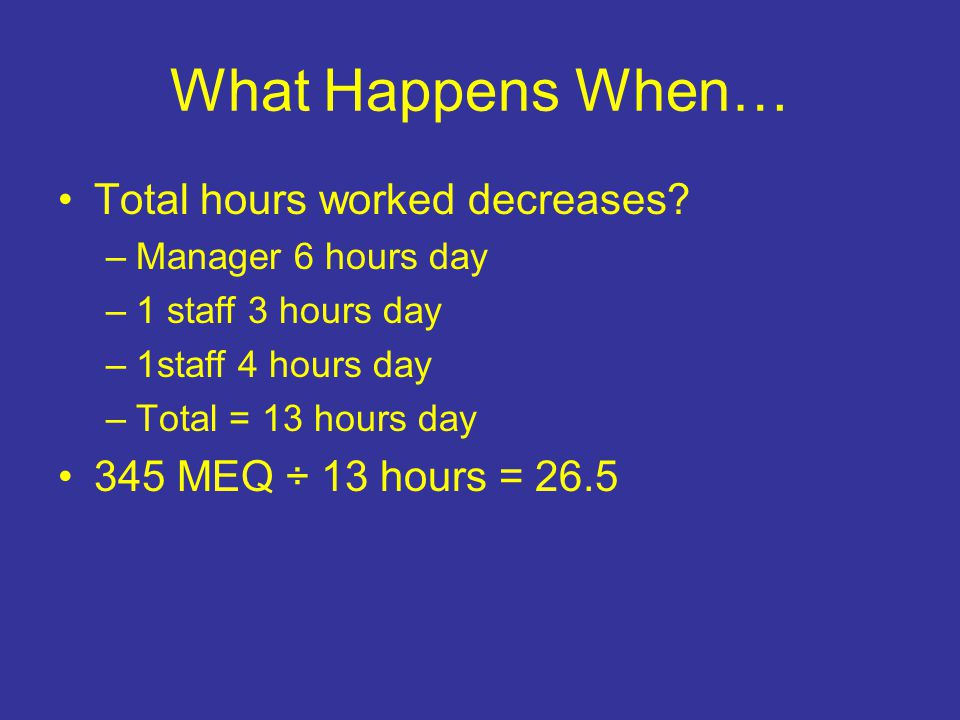 What Happens When… Total hours worked decreases.