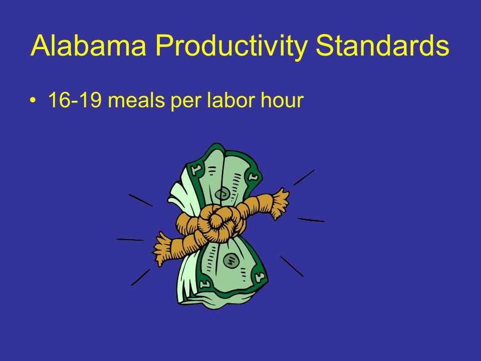 Alabama Productivity Standards 16-19 meals per labor hour