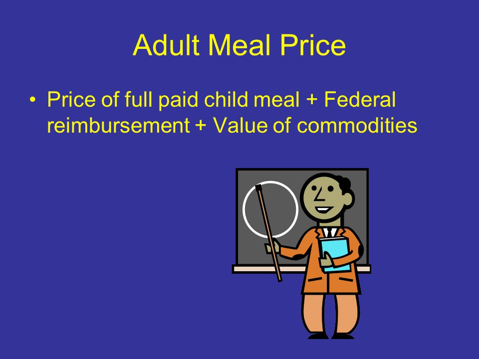 Adult Meal Price Price of full paid child meal + Federal reimbursement + Value of commodities