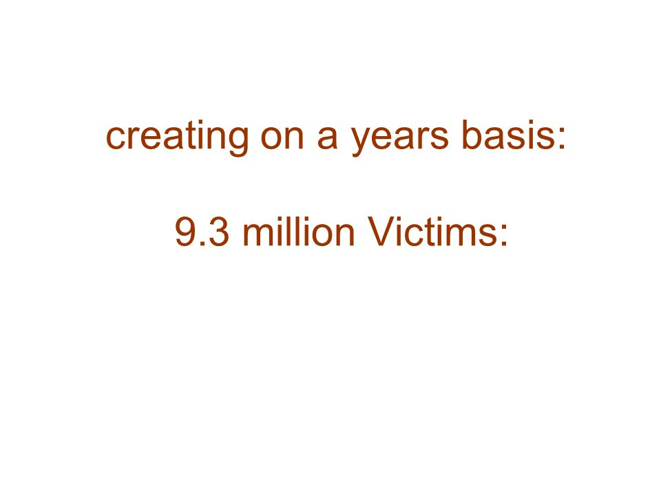creating on a years basis: 9.3 million Victims: