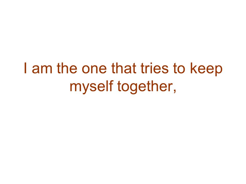 I am the one that tries to keep myself together,