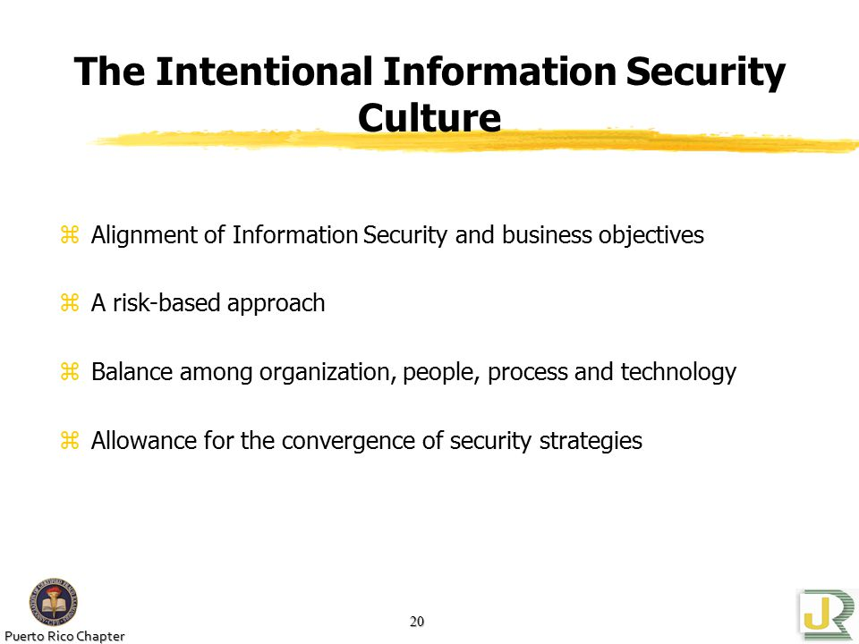 Puerto Rico Chapter 20 The Intentional Information Security Culture zAlignment of Information Security and business objectives zA risk-based approach zBalance among organization, people, process and technology zAllowance for the convergence of security strategies