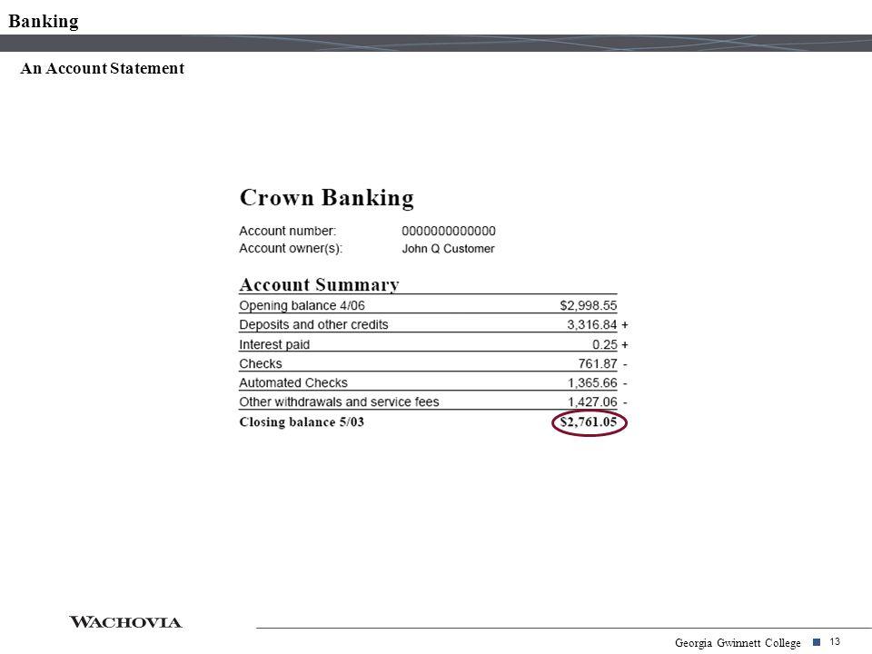 13 Georgia Gwinnett College An Account Statement Banking