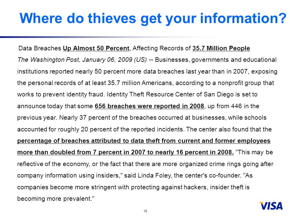 16 Where do thieves get your information.