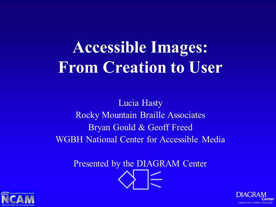 Accessible Images: From Creation to User Lucia Hasty Rocky Mountain Braille Associates Bryan Gould & Geoff Freed WGBH National Center for Accessible Media Presented by the DIAGRAM Center