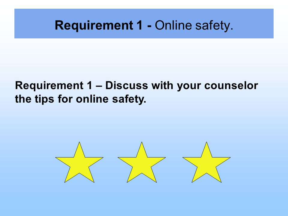 Requirement 1 - Online safety. Requirement 1 – Discuss with your counselor the tips for online safety.