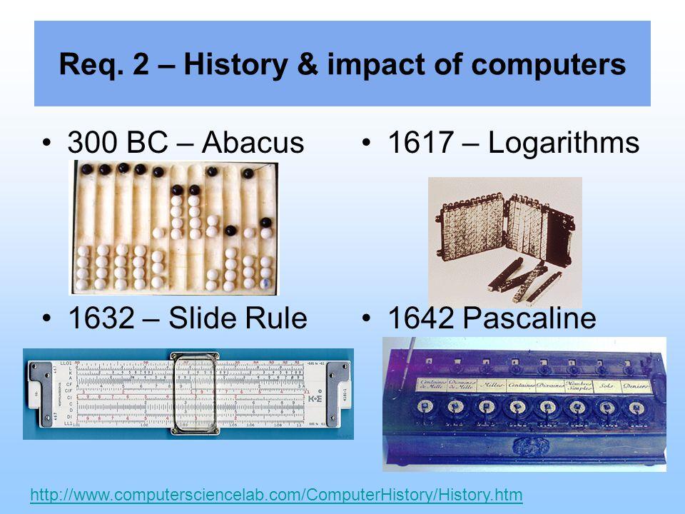 Req. 2 – History & impact of computers 1801 - Jacquard Loom